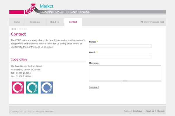 CODE Market - Contact page