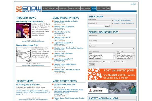 Snowworkers news aggregation page